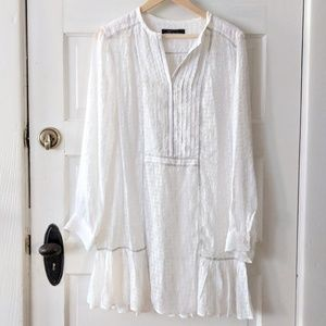 BCBG Max Azria Sheer White Long Sleeve Dress